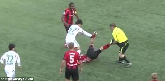 Photo: Linesman banned for life after attacking a player in Russian league match peculiarmagazine
