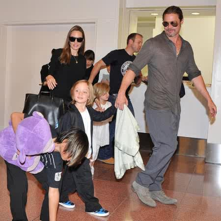 Jolie was accompanied by her family