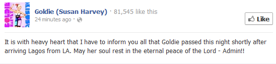 RIP Goldie. Her label Kennis Music release official statement