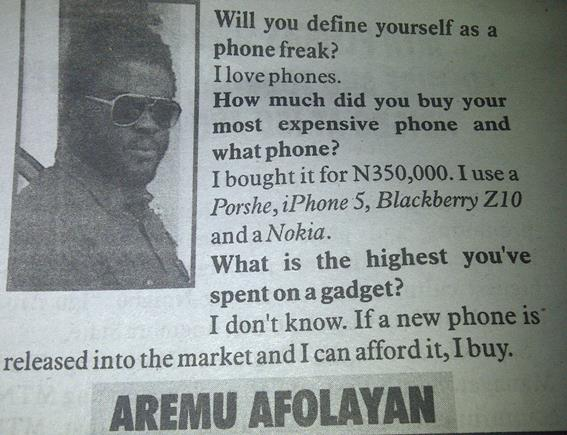 Actor Aremu Afolayan's many phones